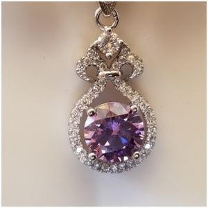 Jewelry - 3ct Pink Amethyst & White Sapphire Pendant 1""